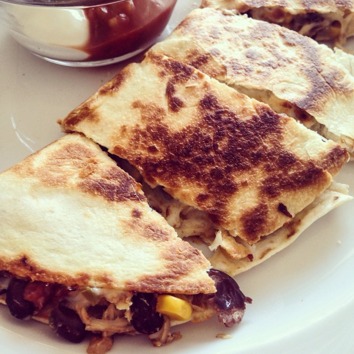 10 minutes to the perfect quesadilla! Add corn and black beans for some variety.