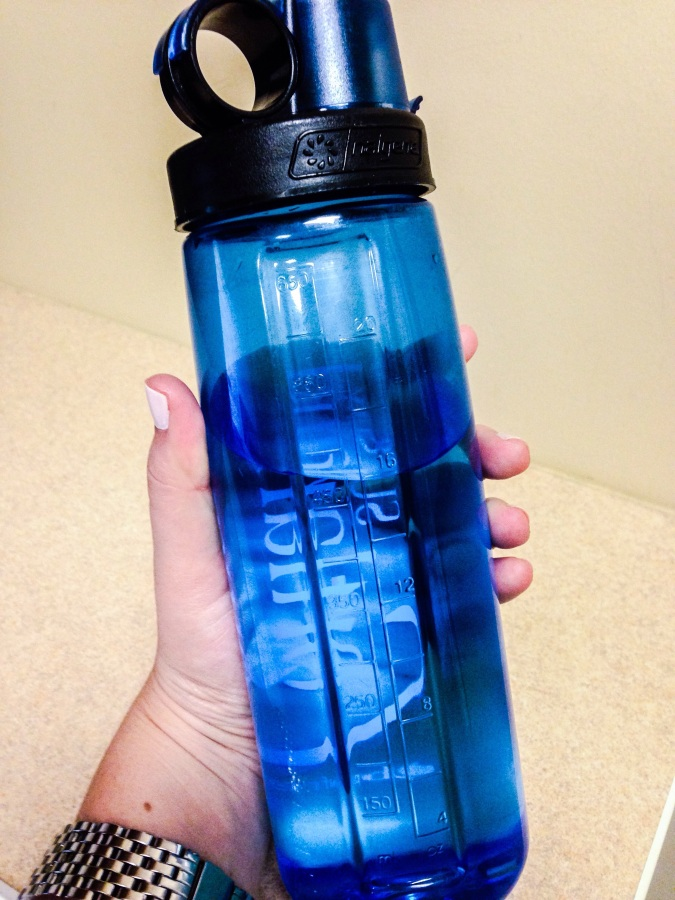 a BPA free water bottle with labeled measurements helps keep me accountable with my hydration