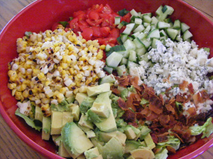 cobb salad gets a little update with some heavy chopping