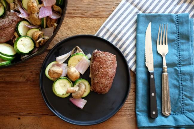 Yep, you can enjoy a semi-fancy steak dinner, all in one pan.