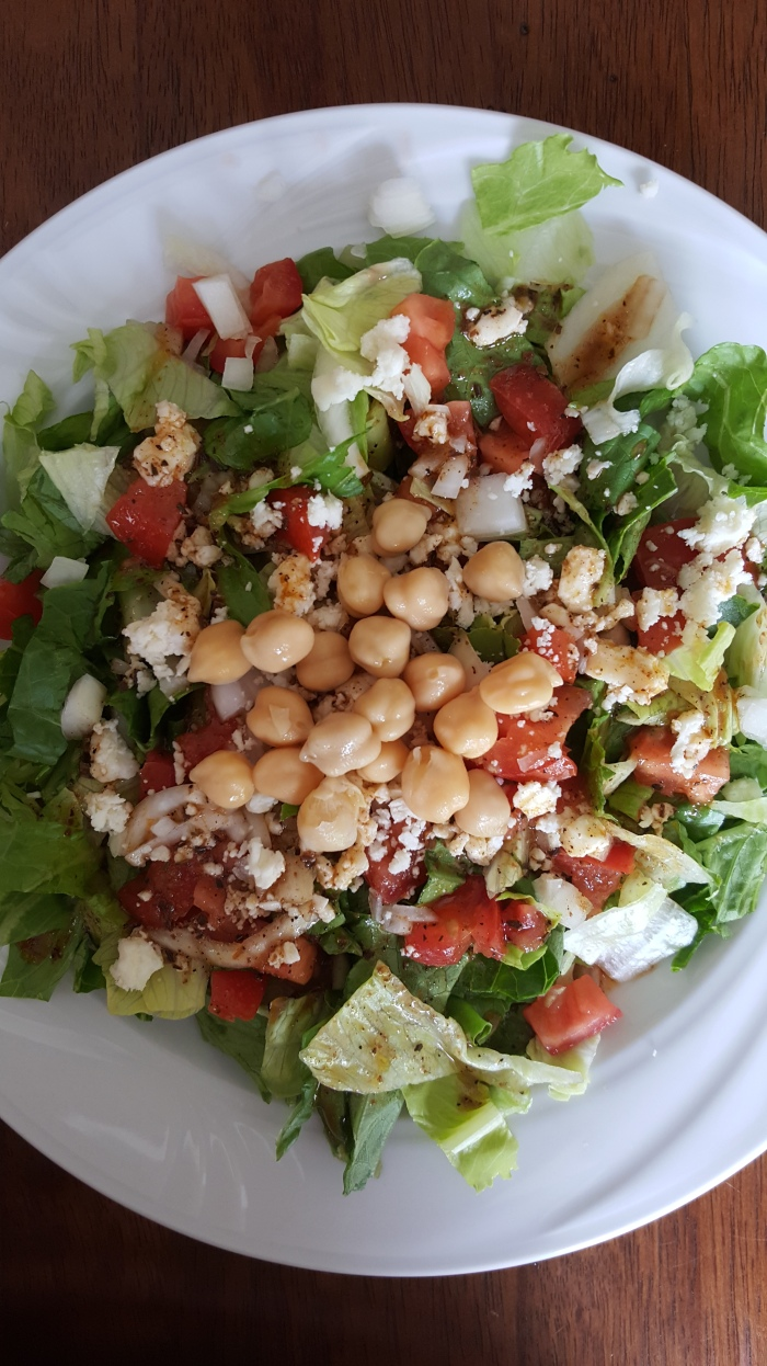 Tomato, onion, and feta combined with chickpea deliciousness makes my heart sing